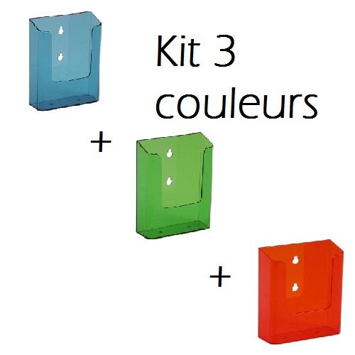 kit 3 présentoirs A6 bleu,vert,orange