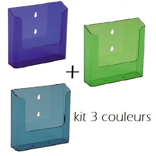 Kit 3 présentoirs muraux pour documents A5 (3 couleurs)