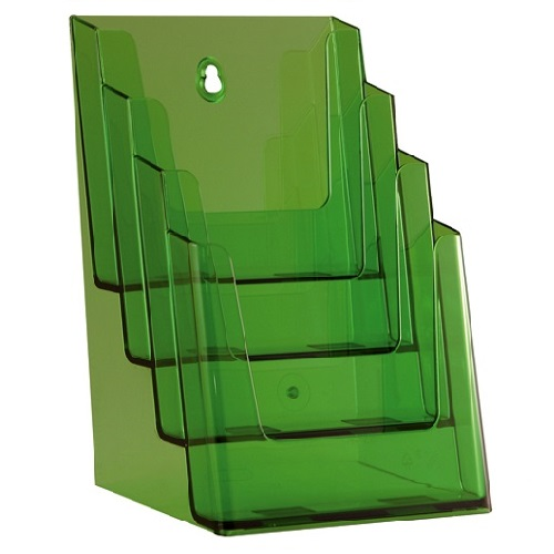 Présentoir porte brochures 4 compartiments pour formats A5 (vert)