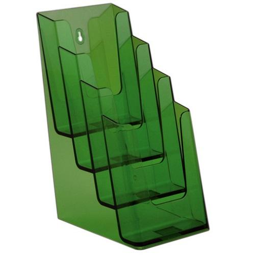 Présentoir porte brochures 4 compartiments pour formats A6 - 1/3 de A4 - 1/2 de A4 (vert)