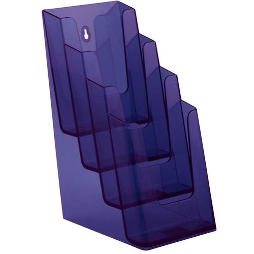 Présentoir porte brochures 4 compartiments pour formats A6 - 1/3 de A4 - 1/2 de A4 (violet)