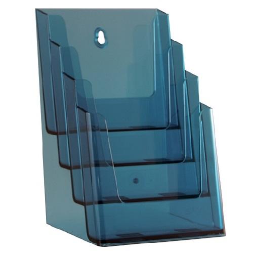 Présentoir porte brochures 4 compartiments pour formats A5 (Bleu)